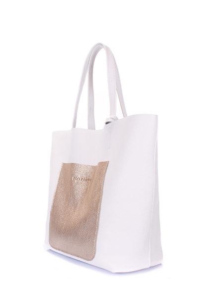 Кожаная сумка POOLPARTY Mania, mania-white-gold