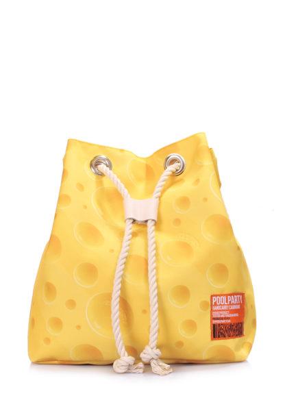 Летний рюкзак с сырным принтом желтый