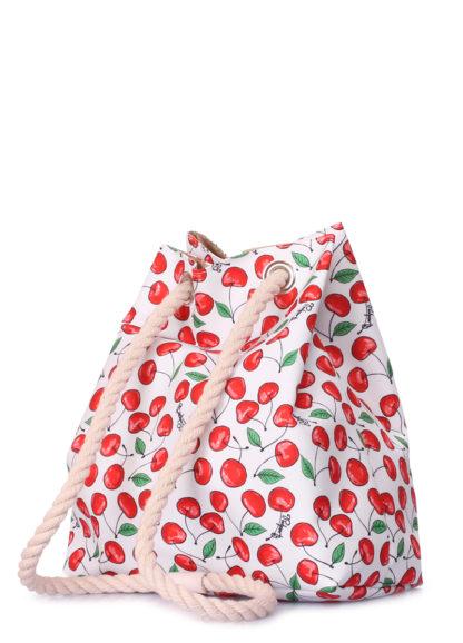 Летний рюкзак с черешнями белый