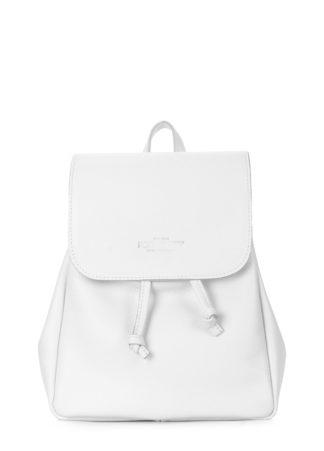 Белый кожаный женский рюкзак на завязках POOLPARTY Paris