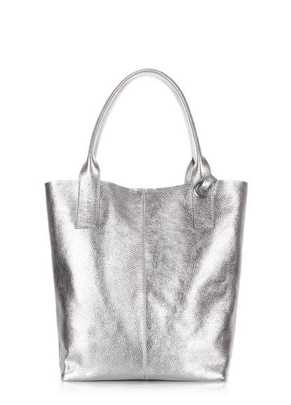 Серебристая кожаная сумка POOLPARTY Podium, podium-silver