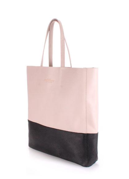 Кожаная сумка POOLPARTY City, city-beige-black