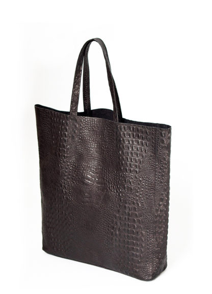 Кожаная сумка POOLPARTY City, city-croco-black