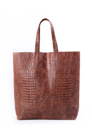 Кожаная сумка POOLPARTY City, city-croco-brown