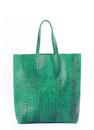 Кожаная сумка POOLPARTY City, city-croco-green