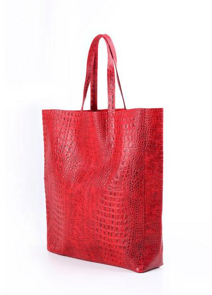 Кожаная сумка POOLPARTY City, city-croco-red