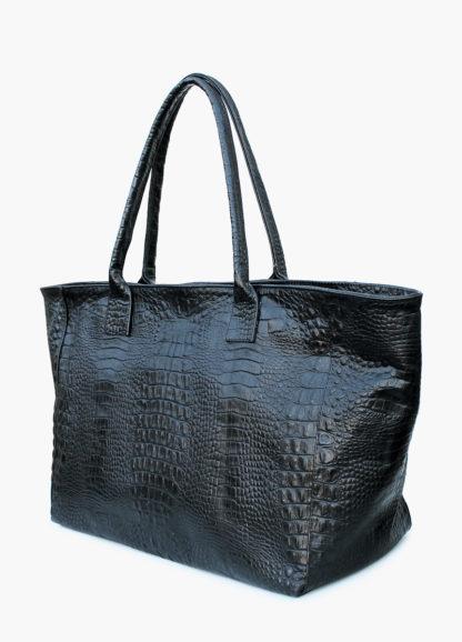 Кожаная сумка POOLPARTY Desire, desire-croco-black