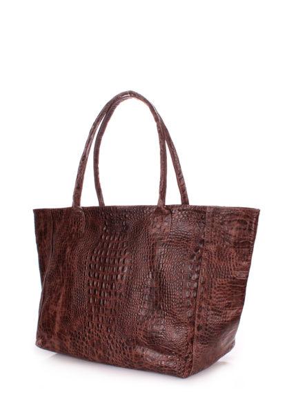 Кожаная сумка POOLPARTY Desire, desire-croco-brown
