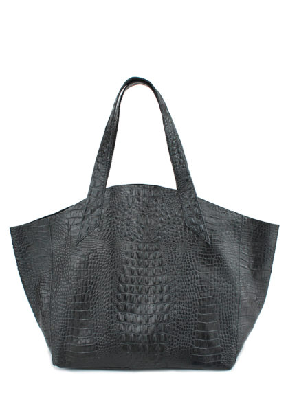 Кожаная сумка POOLPARTY Fiore, fiore-crocodile-black