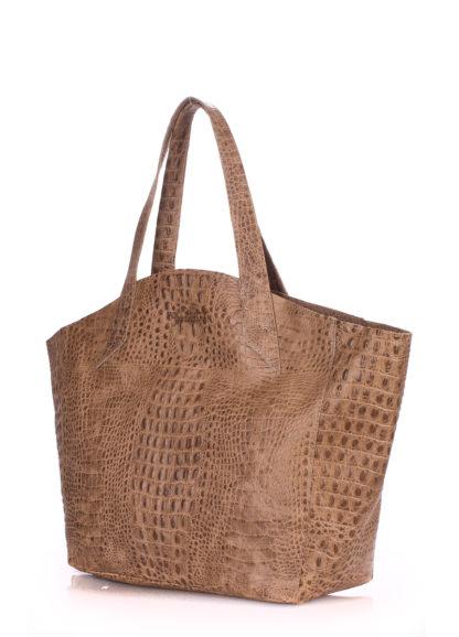 Кожаная сумка POOLPARTY Fiore, fiore-crocodile-beige