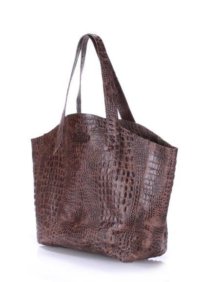 Кожаная сумка POOLPARTY Fiore, fiore-crocodile-brown