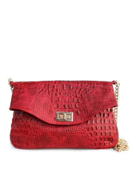 Кожаная сумочка-клатч POOLPARTY с цепочкой, red-crocodile-clutch