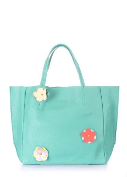 Кожаная сумка POOLPARTY Soho Flower, soho-flower-mint