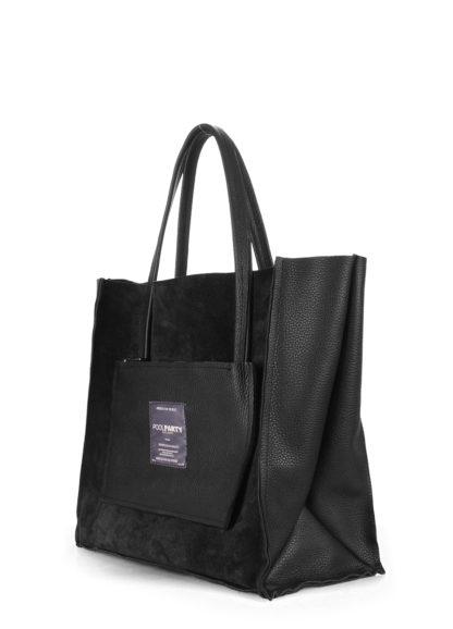 Кожаная сумка POOLPARTY Soho, soho-insideout-black-vel