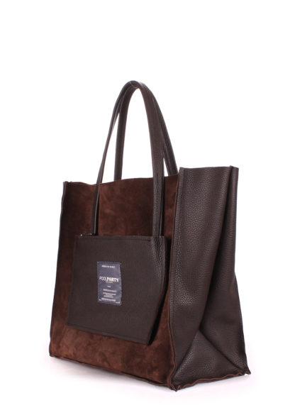 Кожаная сумка POOLPARTY Soho, soho-insideout-brown-vel