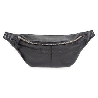 Черная кожаная сумка-бананка PLPRT