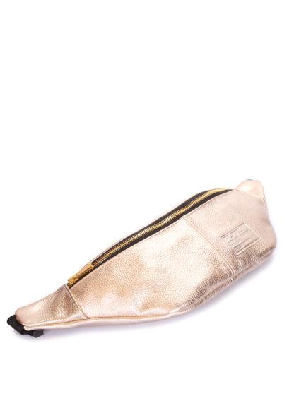 Золотистая сумка-бананка из натуральной кожи PLPRT