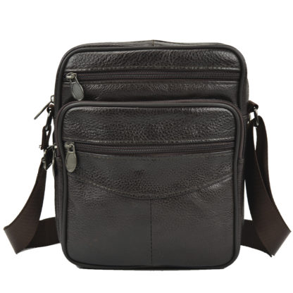 Недорогая кожаная мужская сумка на плечо коричневая Tiding Bag Bx903C