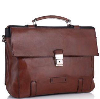 Кожаный мужской портфель коричневый + черный Tiding Bag t0041