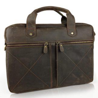 Кожаная коричневая сумка для ноутбука и документов А4 Tiding Bag D4-012R