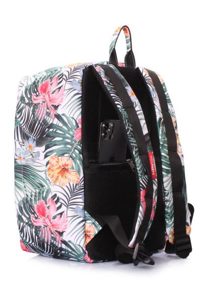 Рюкзак для ручной клади Ryanair, Wizz Air, МАУ (белый с тропическим принтом)