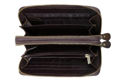 Кожаный мужской клатч на две молнии Tiding Bag T4009