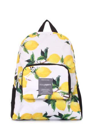 Складной рюкзак трансформер POOLPARTY Transformer (белый с лимонами)