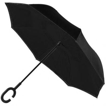 Зонт обратного сложения черный, карбоновые спицы 122-3