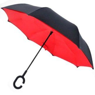 Зонт обратного сложения красный, спицы карбон 122-5
