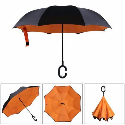 Зонт наоборот, антиветер оранжевый 122-1