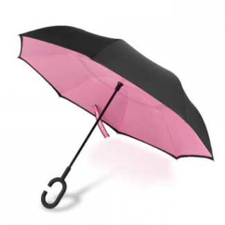 Зонтик обратного сложения розовый, антиветер 122-4