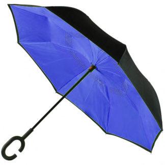 Зонт обратного сложения, антиветер синий 122-0