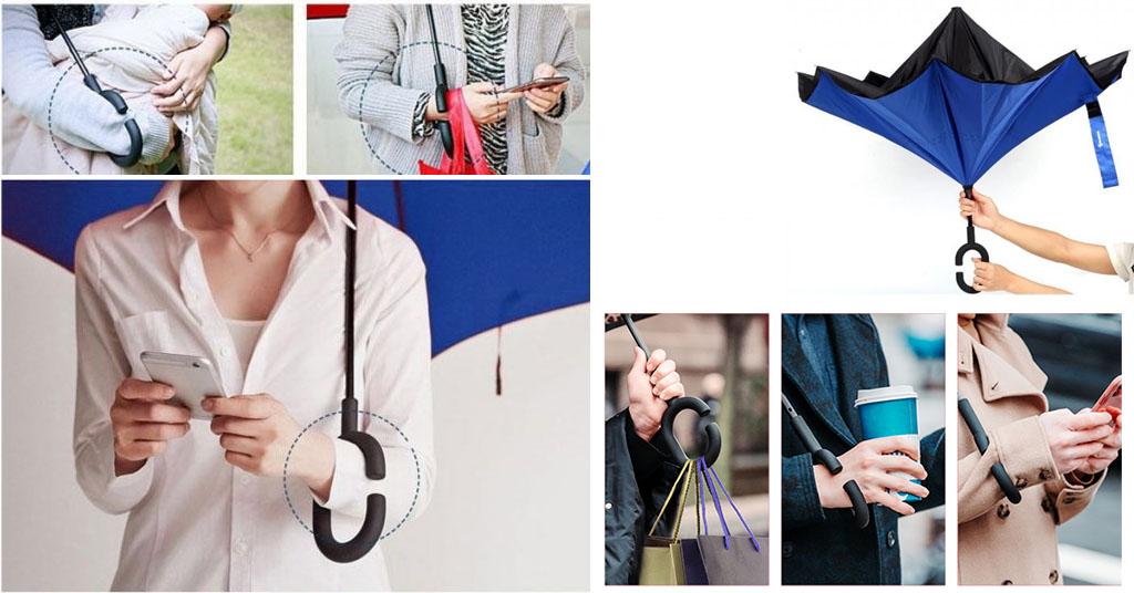 синий зонт обратного сложения
